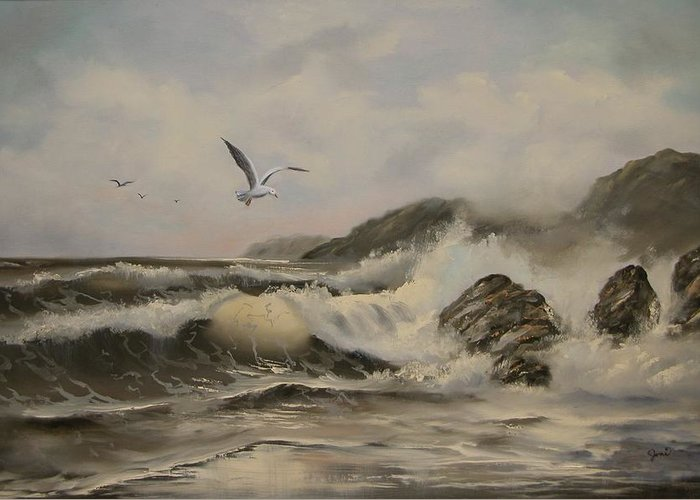 Seascape Greeting Card featuring the painting Morning Thunder by Joni McPherson