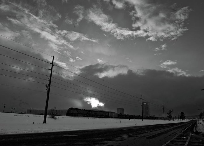 Seshat Greeting Card featuring the photograph Morning Train In Black And White by Scott Sawyer