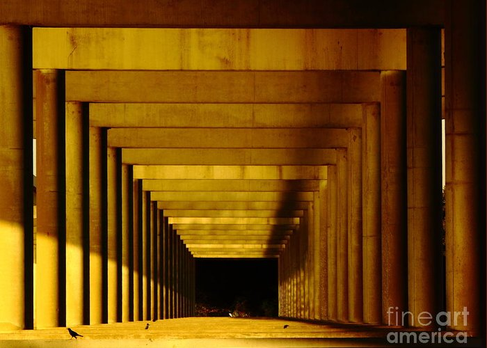 Perspective Greeting Card featuring the photograph Morning Under The Bridge by Robert Frederick