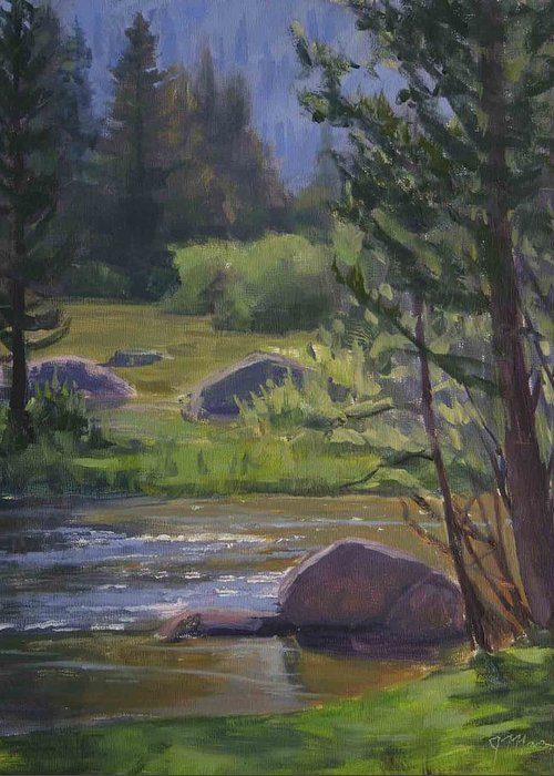Mountain Stream Greeting Card featuring the painting Morning View- Rock Creek by Joe Mancuso
