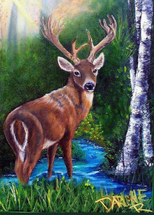 Deer Greeting Card featuring the painting Morning Walk by Darlene Green