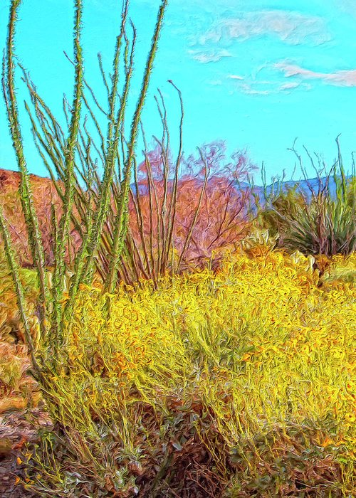 Morning Walk Greeting Card featuring the painting Morning Walk Mohave Desert by Dominic Piperata