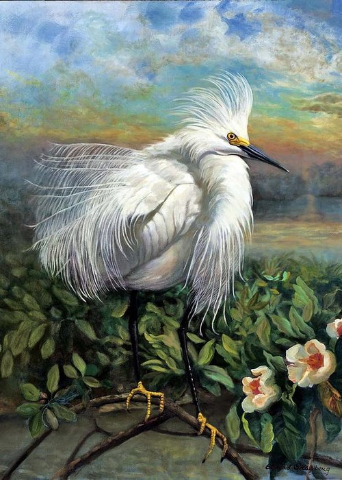 Landscape Greeting Card featuring the painting Morning Watch by Edward Skallberg