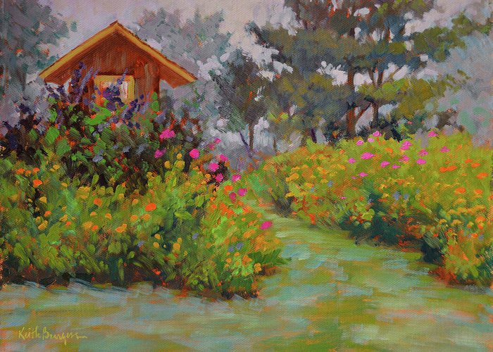 Impressionism Greeting Card featuring the painting Morning Zinnias by Keith Burgess