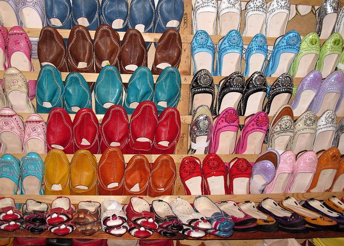 Morocco Greeting Card featuring the photograph Moroccan Shoes 3 by Cindy Kellogg