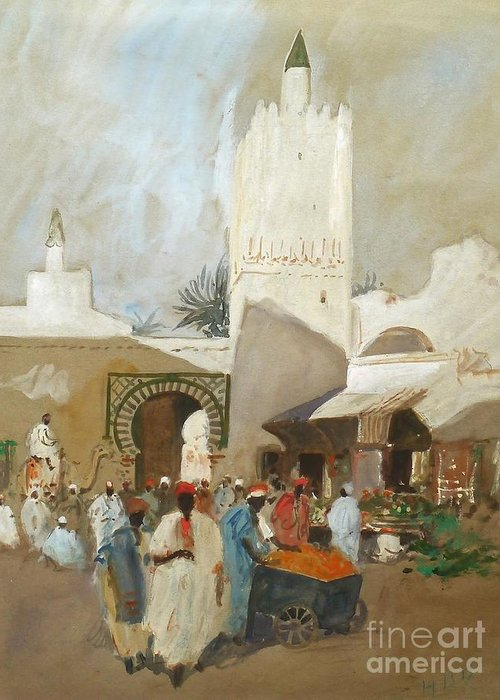 Hercules Brabazon Brabazon - Moroccan Souk Greeting Card featuring the painting Moroccan Souk by MotionAge Designs