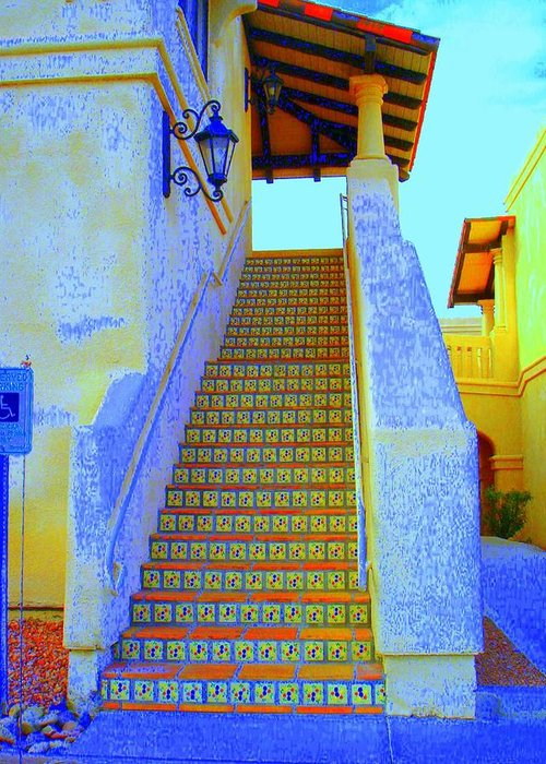 Stairway Greeting Card featuring the photograph Moroccan Staircase by Lessandra Grimley