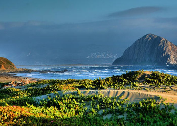 Morro Rock Greeting Card featuring the photograph Morro Rock And Beach by Steven Ainsworth