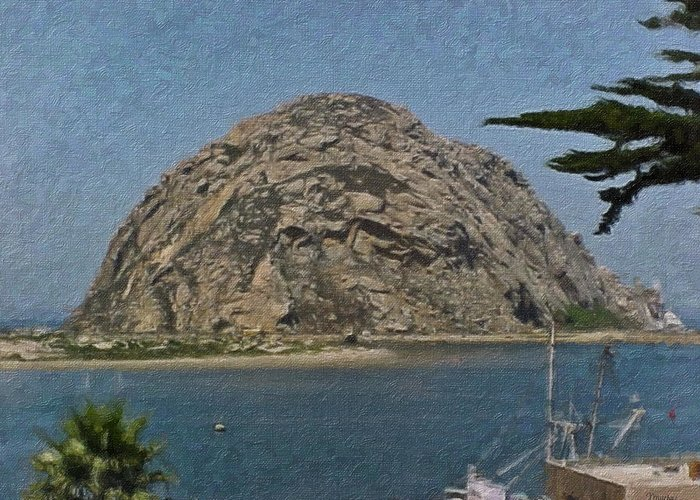 California Greeting Card featuring the painting Morro Rock California Painting by Teresa Mucha