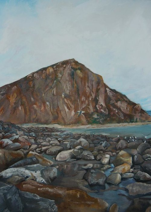 Morro Bay Greeting Card featuring the painting Morro Rock by Travis Day