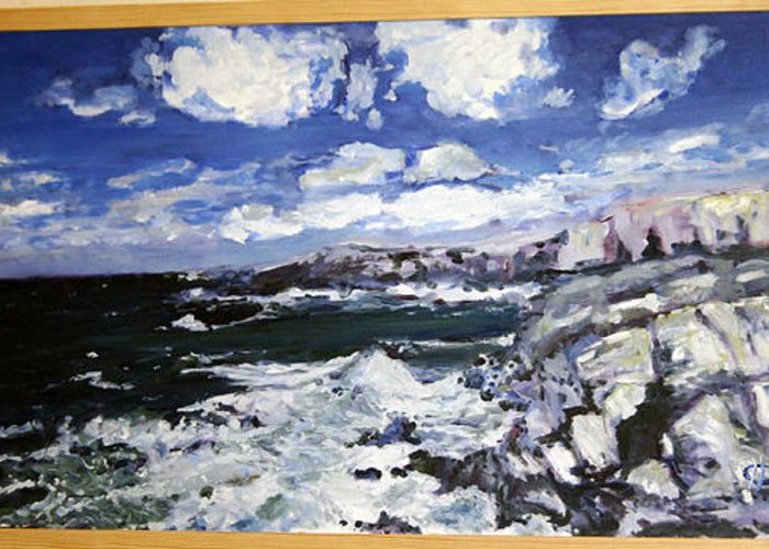 Landscape Greeting Card featuring the painting Morska Energie by Pablo de Choros
