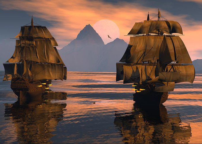 Bryce 3d Fantasy tall Ships Windjammer Greeting Card featuring the digital art Mortal Enemies by Claude McCoy