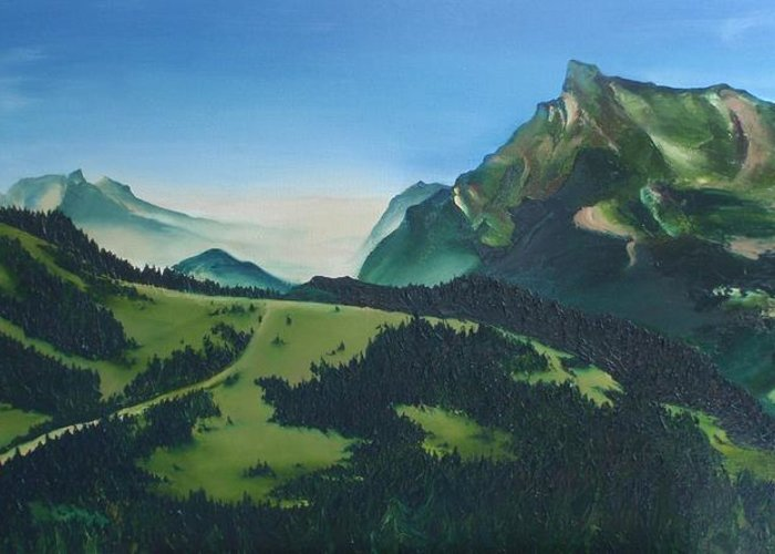 Alps Greeting Card featuring the painting Morzine by Mira Cooke
