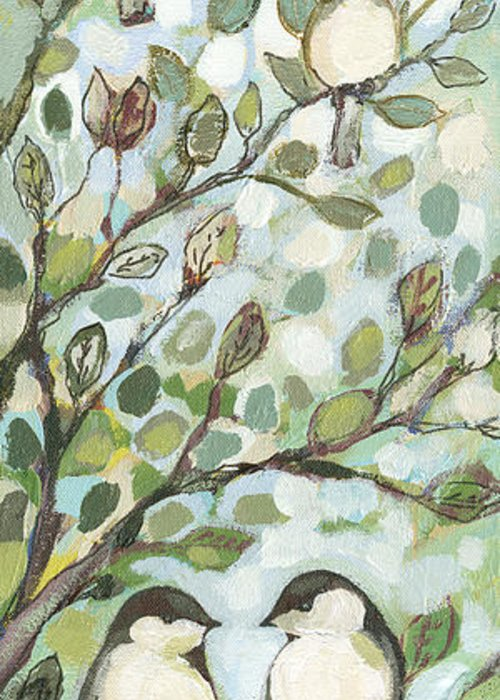 Chickadee Greeting Card featuring the painting Mo's Chickadees by Jennifer Lommers