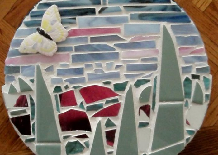 Mosaic Greeting Card featuring the glass art Mosaic Sailboats by Jamie Frier