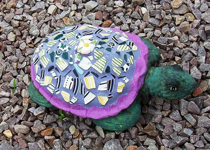 Mosaic Greeting Card featuring the ceramic art Mosaic Turtle by Jamie Frier