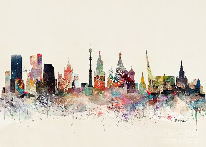 Moscow Skyline Greeting Cards
