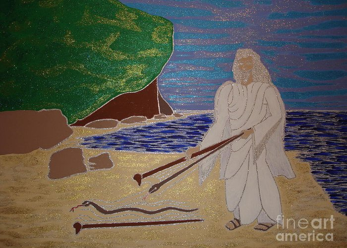 Moses And Staff Greeting Card featuring the painting Moses And Staff by Daniel Henning