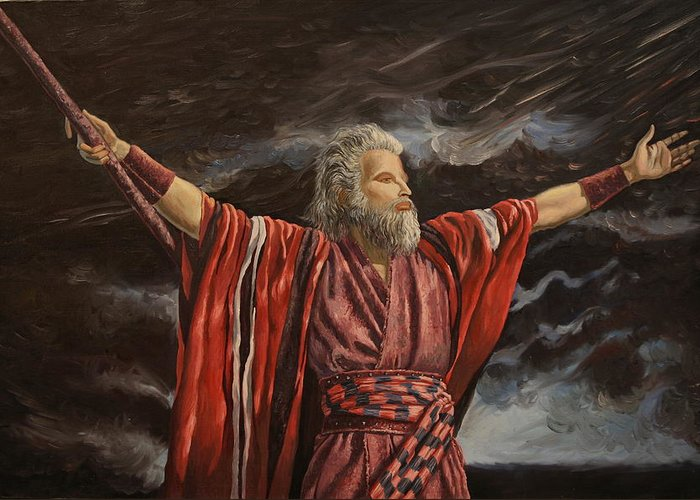 Moses Greeting Card featuring the painting Moses Parting The Red Sea by Rosencruz Sumera