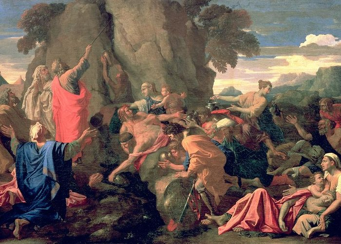 Moses Greeting Card featuring the painting Moses Striking Water From The Rock by Nicolas Poussin