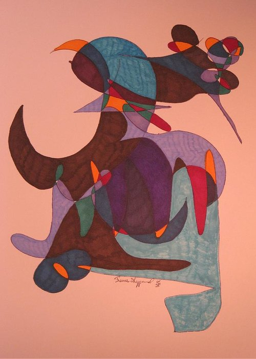 Abstract Mosquito And Bull Greeting Card featuring the mixed media Mosquito Bullriding by James Sheppard