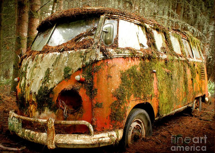 23 Window Greeting Card featuring the photograph Moss Covered 23 Window Bus by Michael David Sorensen