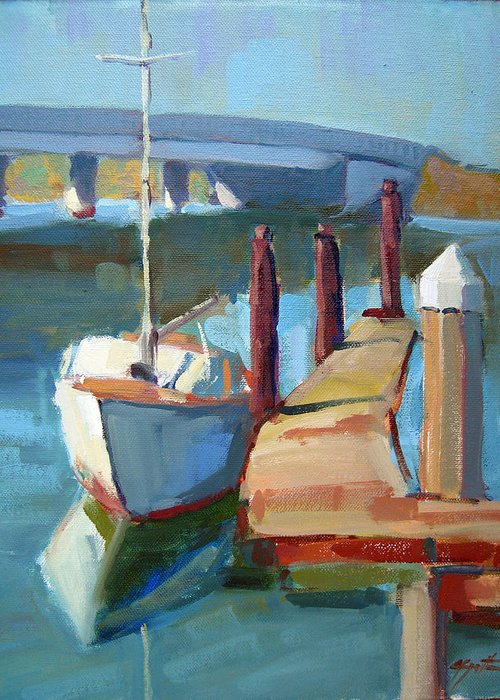 Boat Greeting Card featuring the painting Moss Landing Morning by Sandra Smith-Dugan