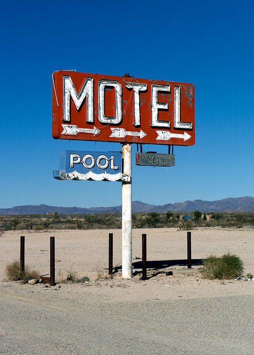 Route 66 Greeting Card featuring the photograph Motel Sign On I-40 And Old Route 66 by Scott Sawyer