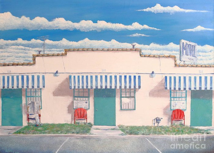Motel Greeting Card featuring the painting Motel Six . 1989 by Wingsdomain Art and Photography