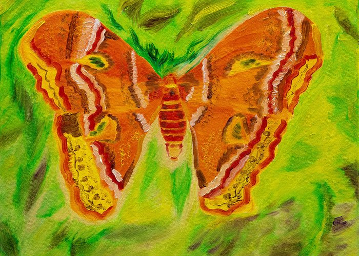 Australian Moth Greeting Card featuring the painting Exuberant Coral Moth by Meryl Goudey