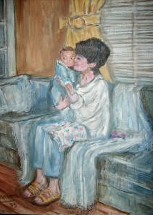 Woman Baby Couch Den Portraits Greeting Card featuring the painting Mother And Child 1 by Joseph Sandora Jr