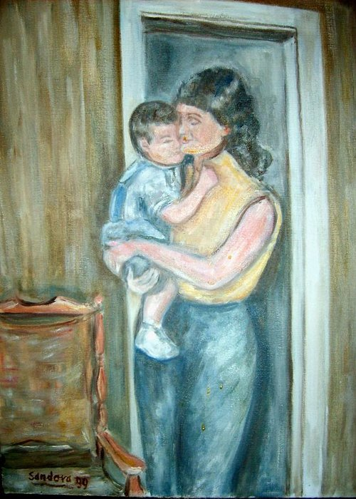 Portrait Greeting Card featuring the painting Mother And Child 2 by Joseph Sandora Jr
