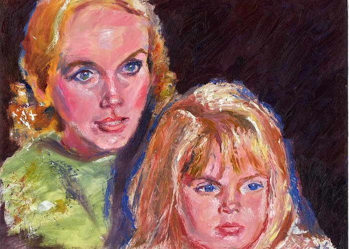 Oil Greeting Card featuring the painting Mother And Child by Horacio Prada