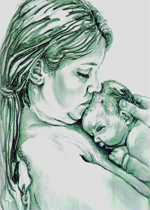 Drawings Greeting Card featuring the drawing Mother And Child II by Carol Allen Anfinsen