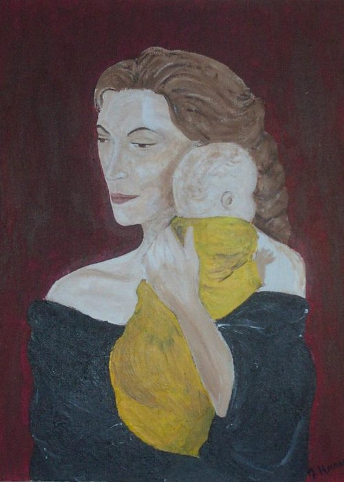 Mother Greeting Card featuring the painting Mother And Child by Jennifer Hernandez