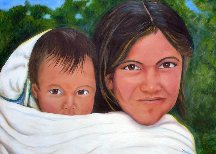 Portrait Greeting Card featuring the painting Mother and Child by Merle Blair