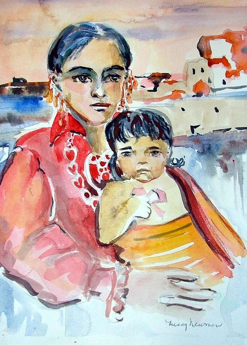 Indian Greeting Card featuring the painting Mother And Child by Mindy Newman