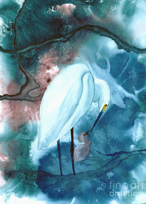 A Mother Egret With Her Chick- A Watercolor Painting Greeting Card featuring the painting Mother And Child by Mui-Joo Wee