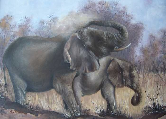 Elephants Greeting Card featuring the painting Mother And Child by Nellie Visser