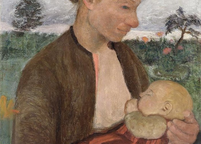 Mother Greeting Card featuring the painting Mother And Child by Paula Modersohn Becker