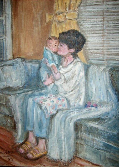 People Couch Window Child Portrait Greeting Card featuring the painting Mother and Child r by Joseph Sandora Jr