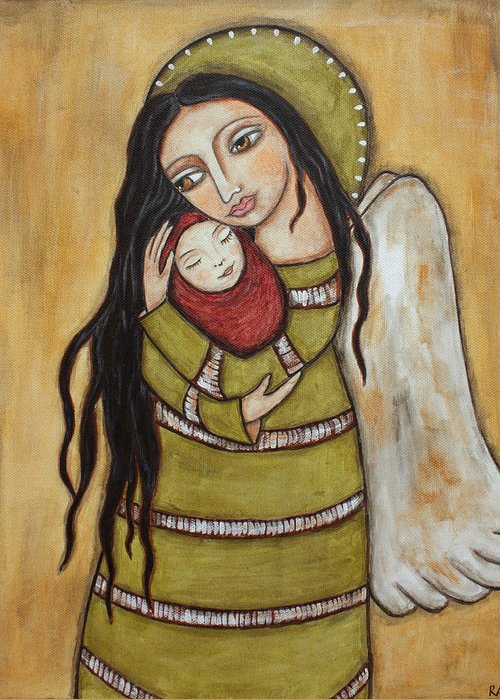 Olk Art Paintings Greeting Card featuring the painting Mother And Child by Rain Ririn