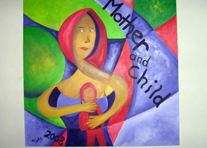 Abstract Greeting Card featuring the painting Mother And Child by Virgil Dublin