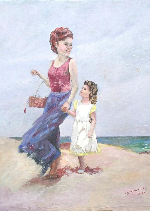 Mother Greeting Card featuring the painting Mother And Daughter At The Beach by Nicholas Minniti