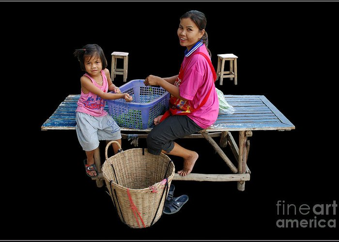 Culture Thailand Market Family Smile Live Life Work Greeting Card featuring the photograph Mother And Daughter by Ty Lee