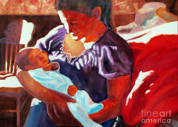 Paintings Greeting Card featuring the painting Mother And Newborn Child by Kathy Braud