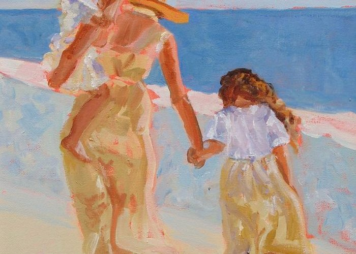 Woman Greeting Card featuring the painting Mother And Two Daughters by Molly Wright