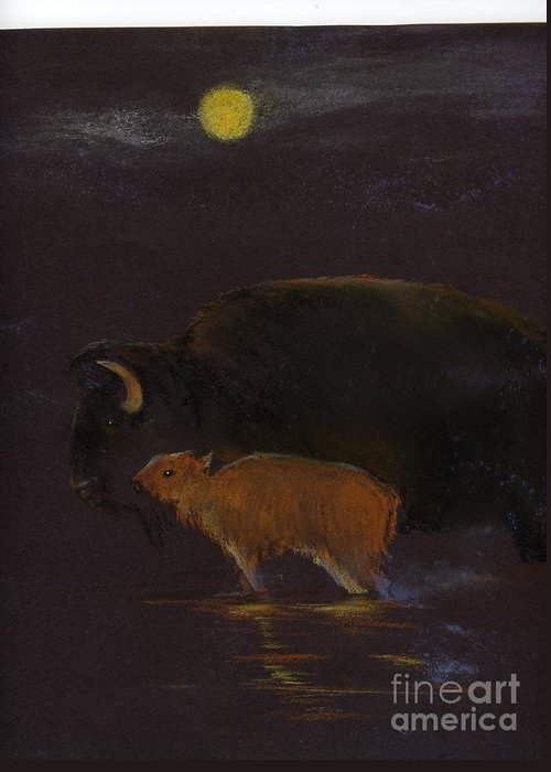A Mother Bison And Calf Crossing The River Under Moon Light. This Is An Oil Pastel Painting. Greeting Card featuring the painting Mother Bison And Calf by Mui-Joo Wee