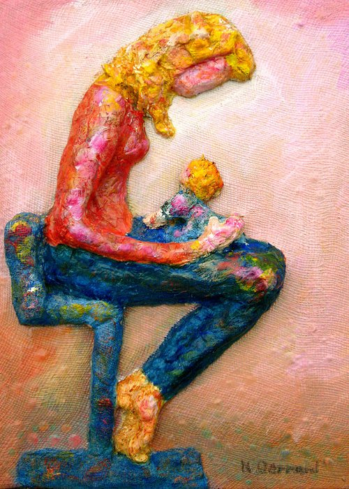 Mother And Child Greeting Card featuring the painting Mother Bonding I by Naomi Gerrard
