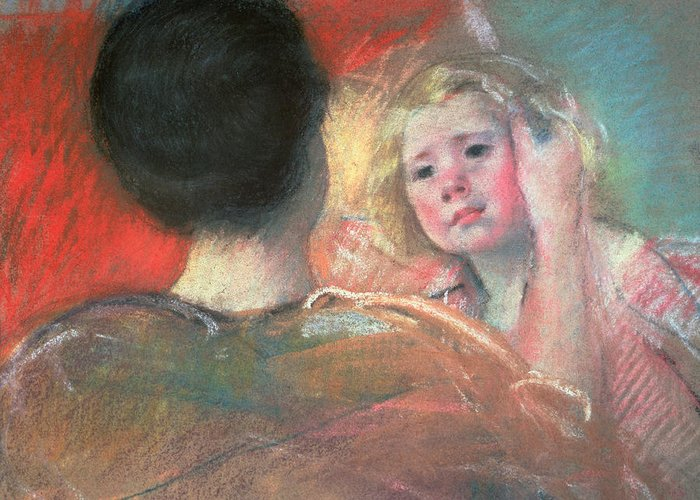 Mother Greeting Card featuring the painting Mother Combing Sara's Hair by Mary Stevenson Cassatt